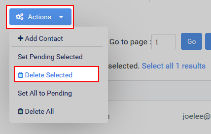Select Actions and then Delete Selected